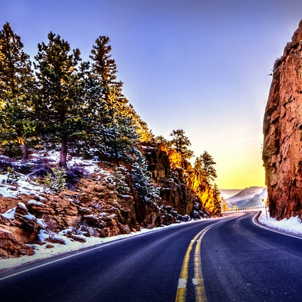 Round the Bend  4.21.2018.12 - Round the Bend. A curvy ribbon of road cuts through the rock landscape in the Rocky Mountains of Colorado. #trees #colorado...