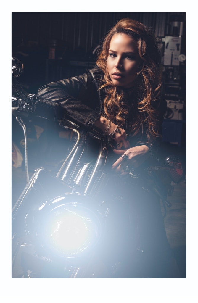 Harley-Davidson_Biker_Kyra-May-Mitchell_Storm-Lahiff-Photographer - Harley Davidson- The terminator and Wrangler jeans, models own vintage jewellery and...