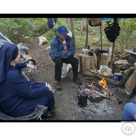 Sister Elizabeth in a homeless camp