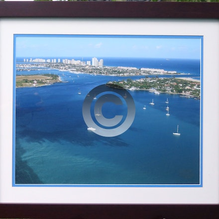 LAKE WORTH INLET - Lake Worth Inlet framed in our house mahogany frame with double mats and regular glass. $125.00. Available for pick up, local delivery...