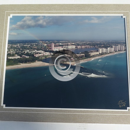 BOCA RATON WITH RAINBOW - This 16 x 20 Aerial is vacuum mounted with linen double mats with shrink wrap.  Ready for a 20 x 24 frame.