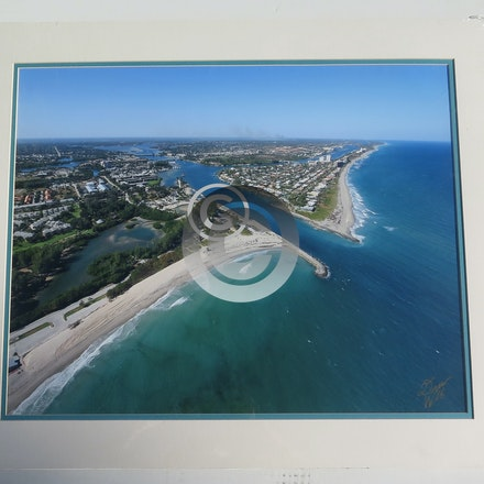 JUPITER INLET 113 - This 16 x 20 Aerial is vacuum mounted with double mats, and shrink wrapped.  Ready for a 20 x 24 frame!