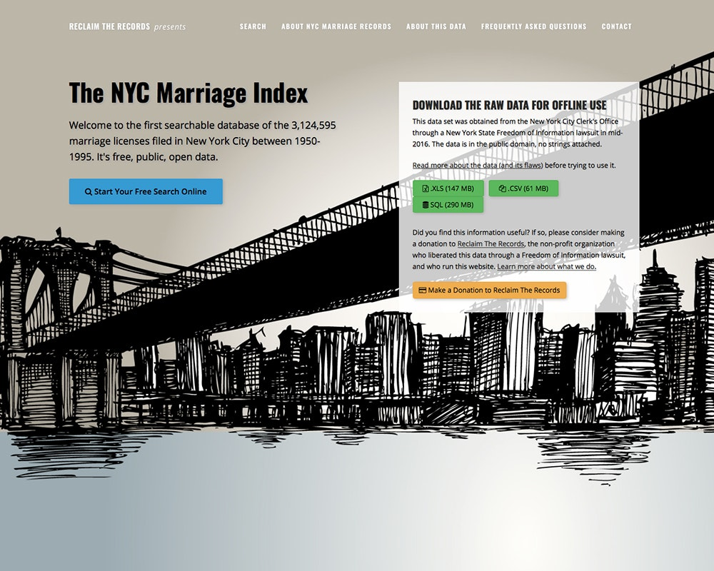 The NYC Marriage Index 1950-1995