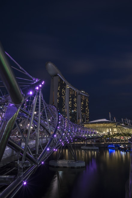 Marina Bay Sands hotel and Helix bridge