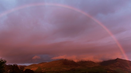 Sunset rainbow over Skiddaw
