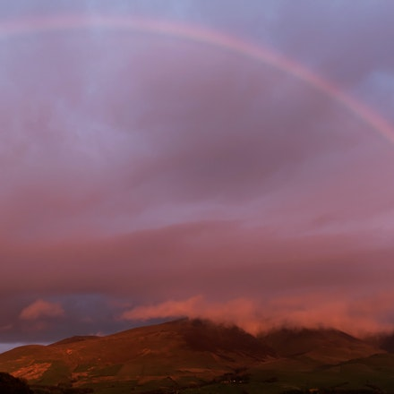 Sunset rainbow over Skiddaw