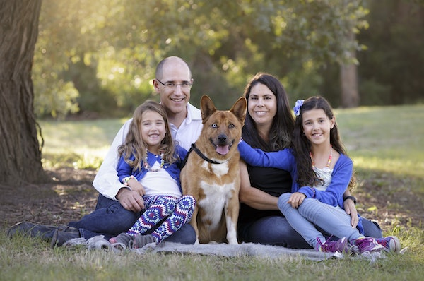 family photography with dog sunset