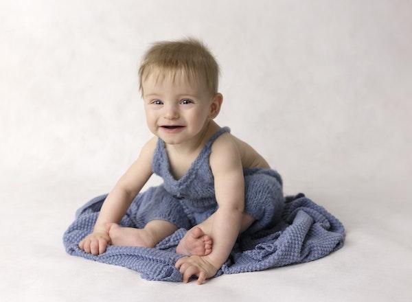 8 month baby boy in blue