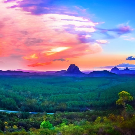Glasshouse Mountains Sunset