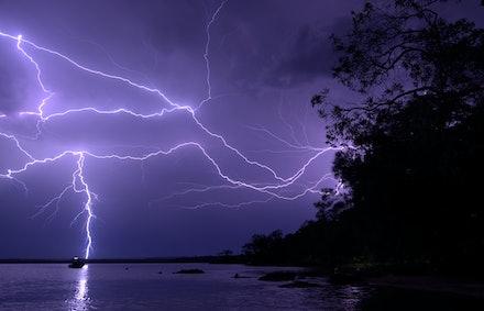 Night storm Lake Cootharaba