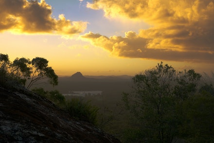 Queensland sunset - Picture taken from the Mt Tinbeerwah near Noosa looking at the Lake McDonald and Mt Cooroora during sunset