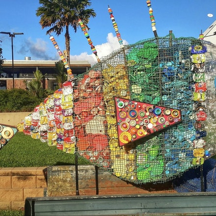 recycled Fish at eco fiesta in Cairns - Rubbish, recycled art, marine debris, recycle,