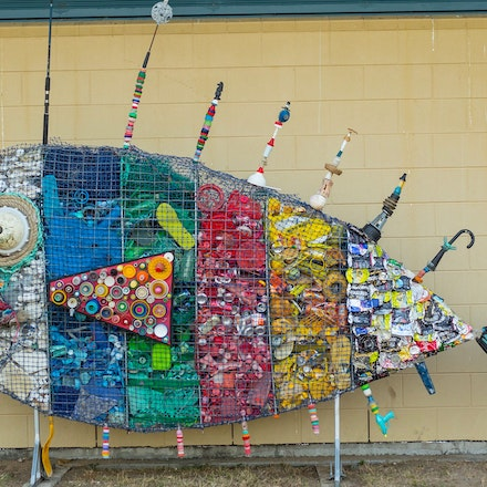 recycled fIsh made with rubbish collected at local beach for a local school Wonga Beach State School - As part of a year 7 project the children of the...