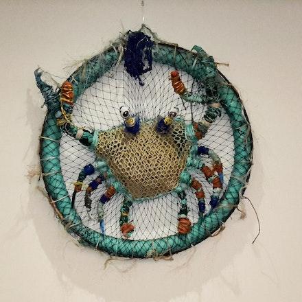 Crab in crab pot - Recycled art, marine debris, rubbish art,
