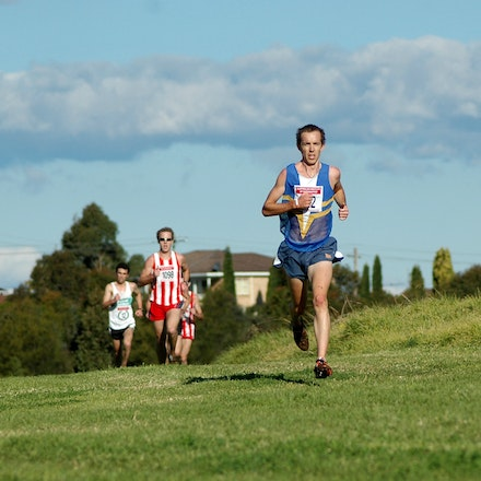 Hunt leads at halfway - Jeff Hunt leads the field at the halfway mark of the open men's 8km race at the NSW Short Course Cross Country Championships at...