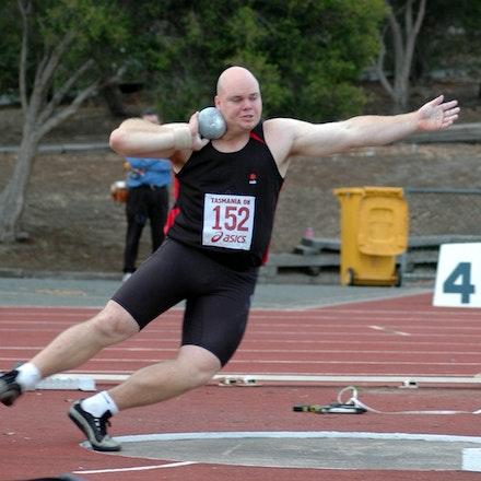 Scott Martin - Scott Martin in the circle in the shot put at the 2008 Briggs Athletics Classic.