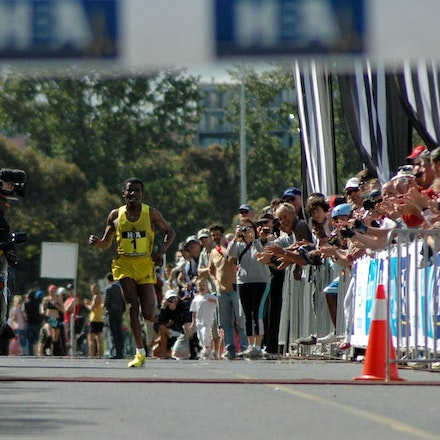 The Emperor arrives - 'The Emperor of Ethiopia', Haile Gebrselassie approaches the line for an emphatic victory in the inaugural Great Australian Run in...