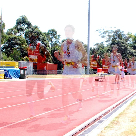 Seeing triple - A multiple exposure image of athletes in the 10,000m at the 2009 Australian University Games on the Gold Coast.