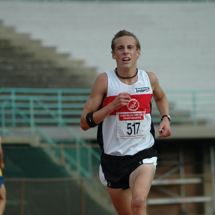 Ryan Gregson - Ryan Gregson on his way to setting the NSW U18 5000m record at ES Marks in November 2007.