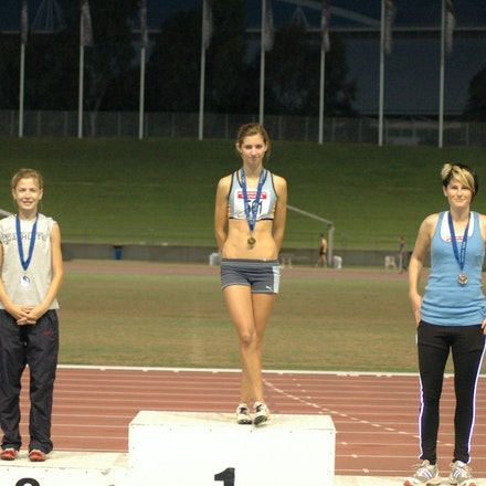 Podium - NSW 3000m Championship 2007 - The medallists in the 2007 NSW 3000m Championship: Chloe Tighe, Lara Tamsett and Nikki Molan.