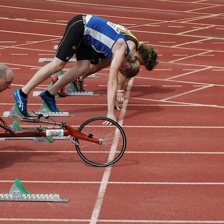 Athletics is for everyone - A wheelchair competitor lines up against able bodied athletes in the 100m at the NSW Club Premiership at ES Marks in November...