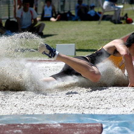 Daniel Natusch - Daniel Natusch from the University of New South Wales lands in the pit in the long jump at the 2007 Australian University Games on the...
