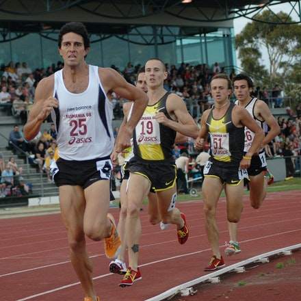 Lachlan Chisholm - Lachlan Chisholm leads the field at the start of the final lap of the 1500m at the 2008 Briggs Classic.