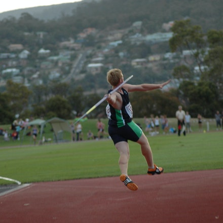 Hamish Peacock - Tasmanian local Hamish Peacock prepares to hurl the javelin in front of his home crowd at the 2008 Briggs Athletics Classic in Hobart.