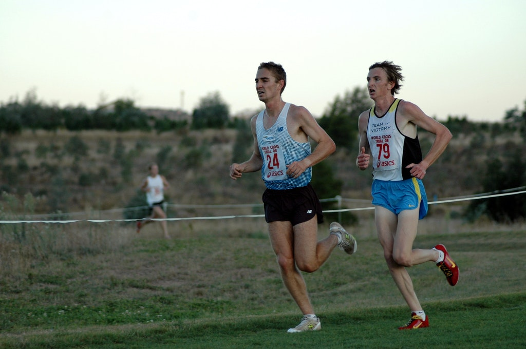 Dent and Shelley - Martin Dent and Michael Shelley run side by side in the 12km race at the Australian trial for the 2008 World Cross Country Championships.