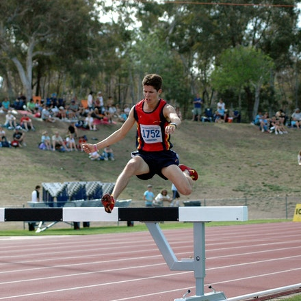 Richard Everest - On his way to a dominant winning performance South Australia's Richard Everest clears a barrier in the 2000m steeplechase at the 2008...