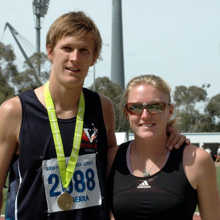 Baines and McLellan - Sam Baines poses with Olympic 100m hurdles silver medallist Sally McLellan after setting an Australian U18 record in the 110m hurdles...