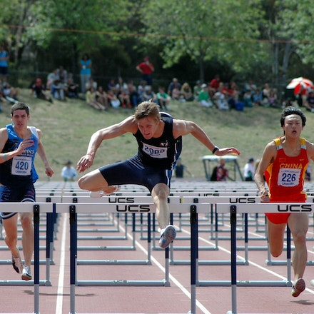 Baines sets national record at 2008 Pacific School Games - Sam Baines clears the final hurdle in the U18 110m hurdles. The Victorian set an Australian...