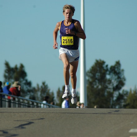Kevin Batt - Kevin Batt in the final stages of the U18 5km race at the Sydney Striders/Athletics NSW Road Race in 2008.