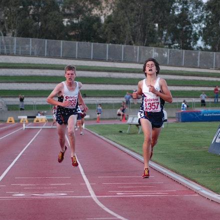 Jordan Williamsz - Jordan Williamsz sprints clear in the straight to take victory in the 2000m steeplechase at the 2007 Australian All Schools Championships...