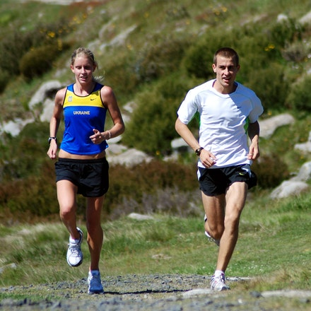Delaney and Milosevic - Training partners Bridey Delaney and Brad Milosevic finishing an easy run at Falls Creek in December 2008.