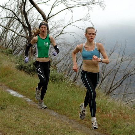 Emily Brichacek - Emily Brichacek running on the high plains at Falls Creek in December 2008.