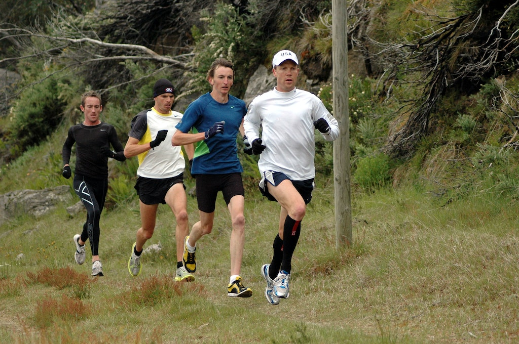 St Lawrence leads the pack - Ben St Lawrence leads Michael Shelley, Scott Westcott and Tim Rowe during a training session at Falls Creek in December 2008.
