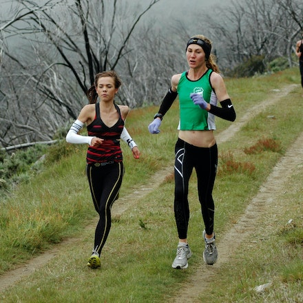 Emery and Carvolth - Junior distance runners Hollie Emery and Tamara Carvolth run side by side at Falls Creek in December 2008.