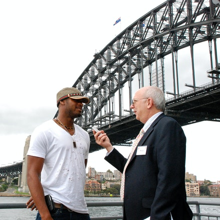 Powell and Hurst - Former 100m world record holder Asafa Powell being interviewed by veteran athletics journalist Mike Hurst prior to the 2009 Sydney Track...