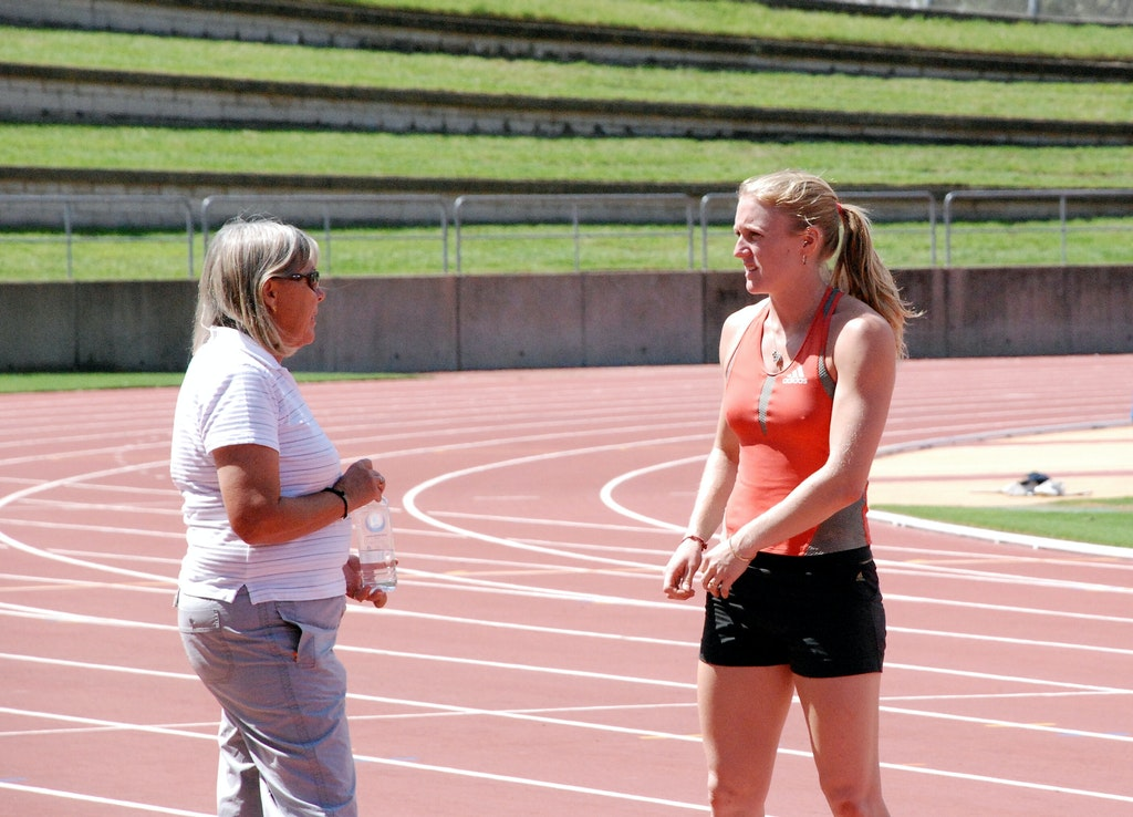 Athlete and Coach - Sally McLellan and coach Sharon Hannan at a light training session prior to the 2009 Sydney Track Classic.