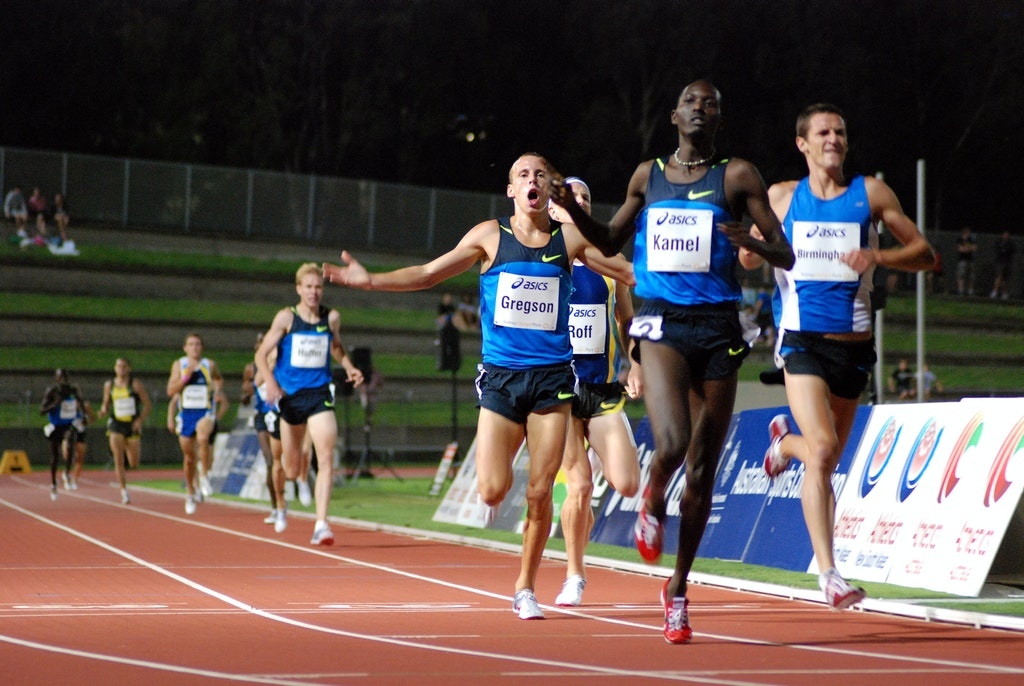 Gregson celebrates - Ryan Gregson celebrates his third place finish in the 1500m at the 2009 Sydney Track Classic. The 18-year-old set a new Australian...