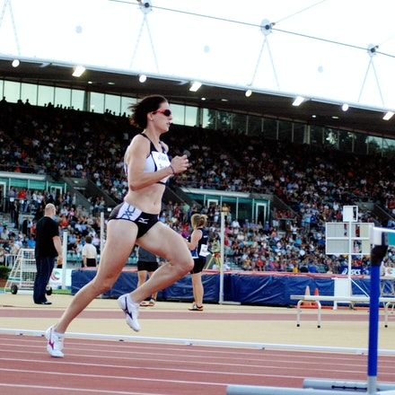 Lauren Boden - Lauren Boden in the early stages of the 400m hurdles at the 2009 Sydney Track Classic in which she finished second in 56.63 seconds.