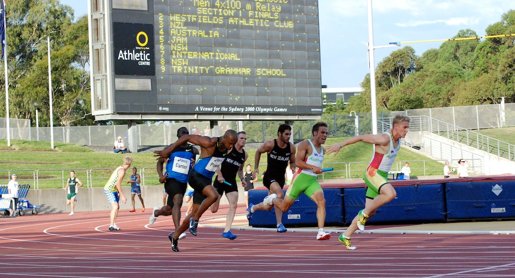 Australia and Jamaica - The Australian and Jamaican teams at the final change of the 4x100m at the Sydney Track Classic. Aaron Rouge-Serret passed to Matt...