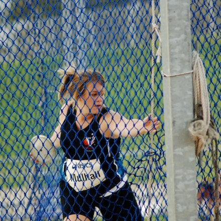 Kim Mulhall - Kim Mulhall prepares to throw in the discus at the 2009 Sydney Track Classic.