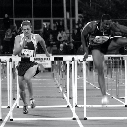 David Oliver - David Oliver clears the final hurdle on his way to victory at the World Athletics Tour Melbourne meeting in 2009.