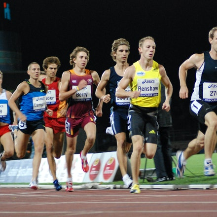 Men's 800m - Lachlan Renshaw follows the pacemaker as he approaches the bell in the 800m at the Melbourne leg of the 2009 World Athletics Tour.