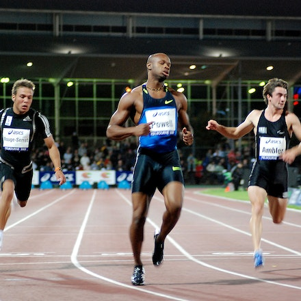 Asafa Powell - Asafa Powell records an easy 10.23 second victory in the 100m at the 2009 World Athletics Tour meet in Melbourne.