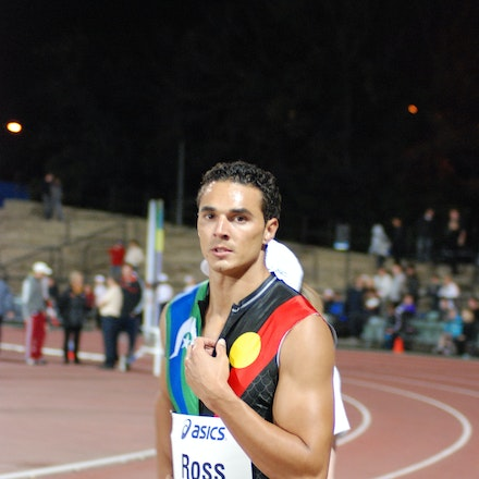 The Boss - Josh Ross following the 100m at the 2009 World Athletics Tour meet in Melbourne