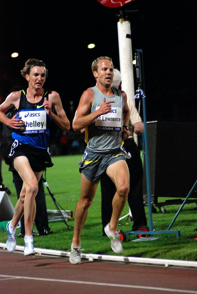 St Lawrence & Shelley - Ben St Lawrence and Michael Shelley in a close tussle to be the second Australian across the line in the Australian 5000m championship...