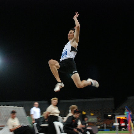 Flying Fabrice - Fabrice Lapierre leapt out to a distance of 8.29m to win the long jump at the 2009 Australian Championships in Brisbane.